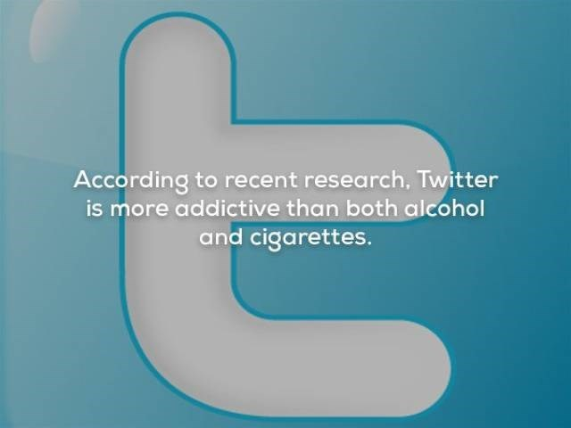 Text - According to recent research, Twitter is more addictive than both alcohol and cigarettes.