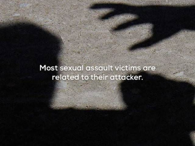 Text - Most sexual assault victims are related to their attacker.