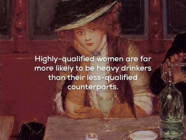 Art - Highly-qualified women are far more likely to be heavy drinkers than their less-qualified counterparts.