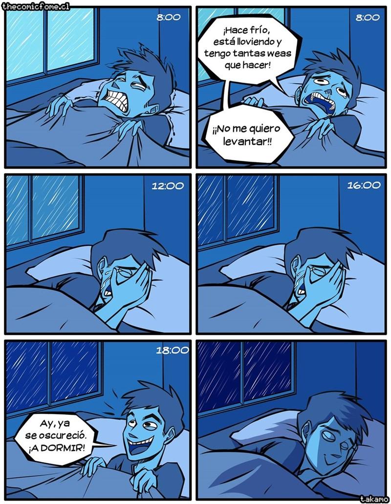 cuando tienes mucho que hacer pero te quedas en la cama y todo se pasa
