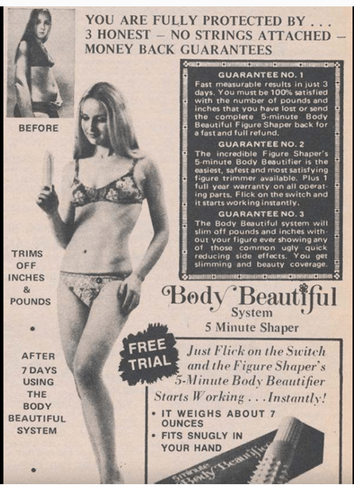Undergarment - YOU ARE FULLY PROTECTED BY 3 HONEST MONEY BACK GUARANTEES NO STRINGS ATTACHED GUARANTEE NO.1 Fast measurable results in just 3 days. You must be 100% satisfied with the number of pounds and inches that you have lost or send the complete 5-minute Body Beautiful Figure Shaper back for a fast and full refund. BEFORE GUARANTEE NO. 2 The incredible Figure Shaper's 5-minute Body Beautifier is the easiest, safest and most satisfying figure trimmer available. Plus 1 full year warranty on