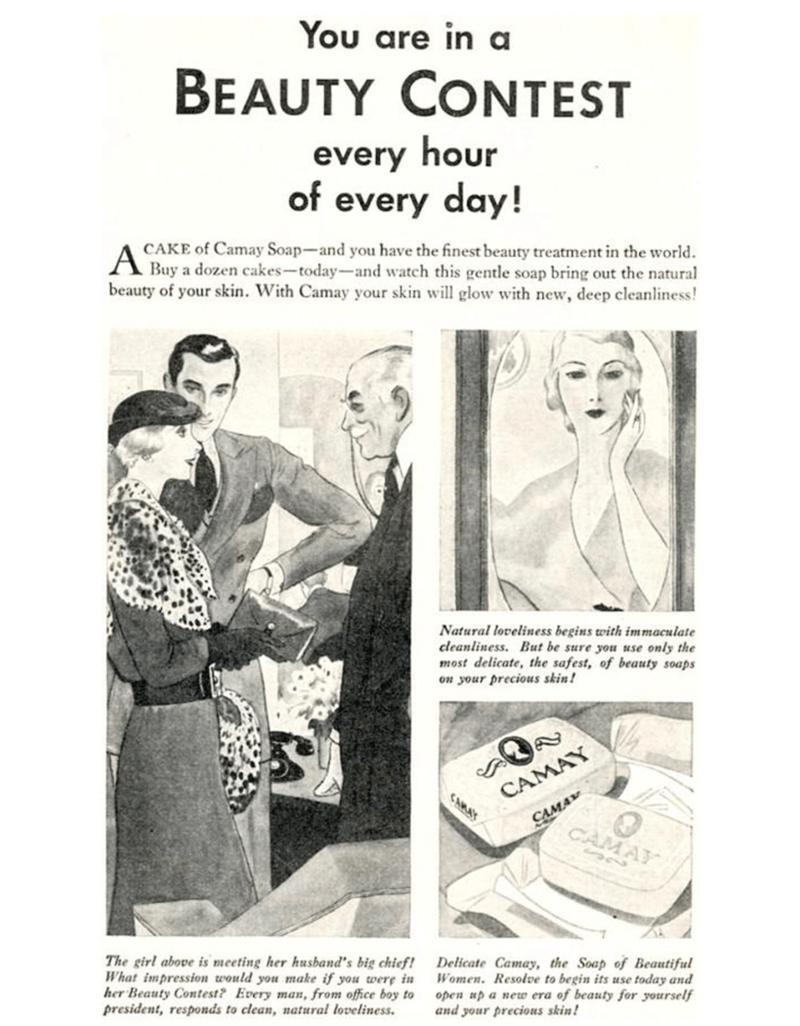 Vintage advertisement - You are in a BEAUTY CONTEST every hour of every day! CAKE of Camay Soap-and you have the finest beauty treatment in the world Buy a dozen cakes-today-and watch this gentle soap bring out the natural beauty of your skin. With Camay your skin will glow with new, deep cleanliness! A Natural loveliness begins with immaculate cleanliness. But be sure you use only the most delicate, the safest, of beauty soaps on your precious skin! CAMAY CAMAY CAMAY CAMAY The girl above is mee
