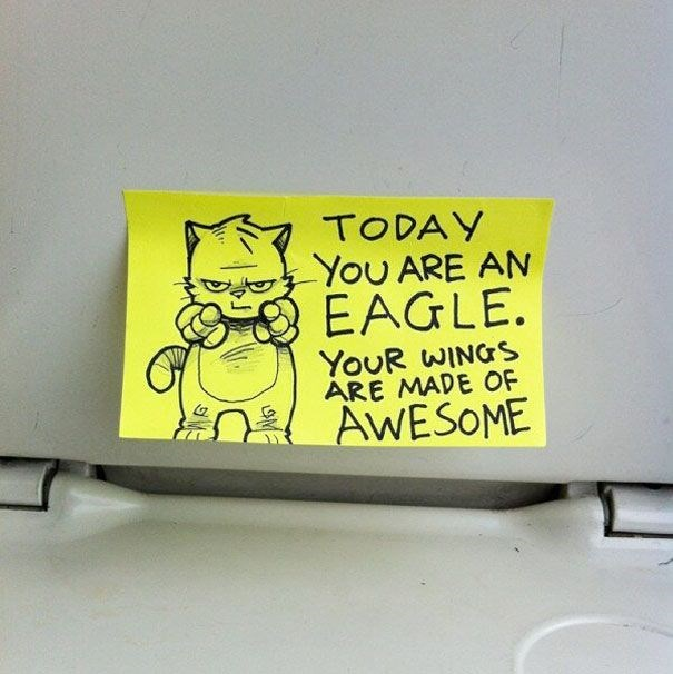Yellow - TODAY YoU ARE AN EAGLE. YOUR WINGS ARE MADE OF AWESOME