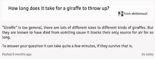 text from tumblr how long does it take a giraffe to throw up