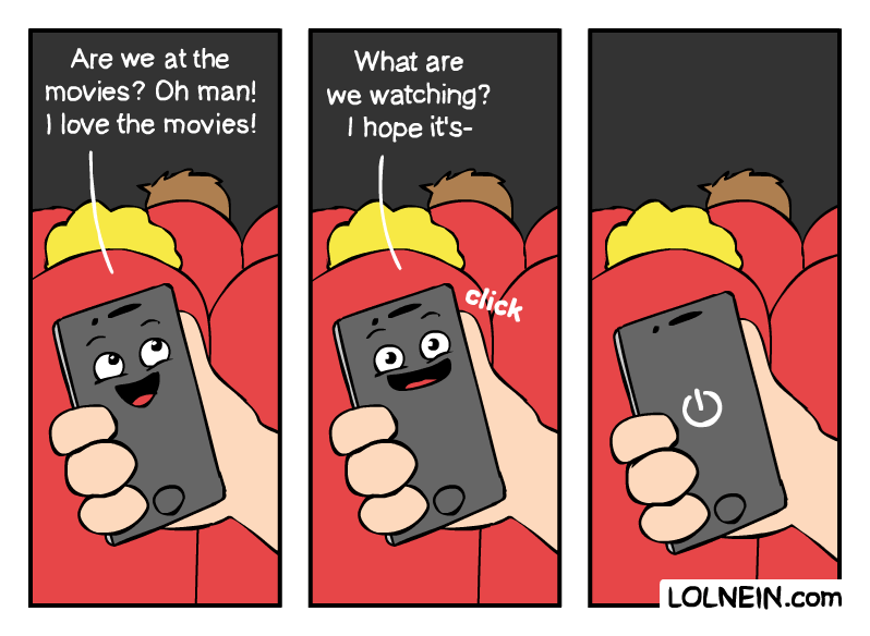 Cartoon - What are Are we at the we watching? I hope it's- movies? Oh man! Ilove the movies! click LOLNEIN.com