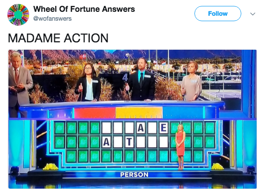 Product - Wheel Of Fortune Answers Follow @wofanswers MADAME ACTION A E A T PERSON