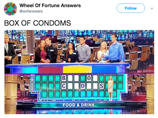 Product - Wheel Of Fortune Answers Follow @wofanswers BOX OF CONDOMS C DI FOOD & DRINK BlU