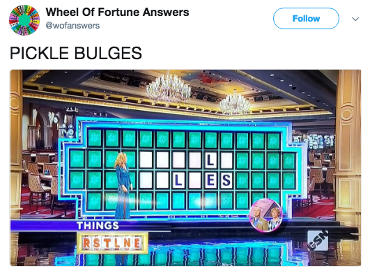 Product - Wheel Of Fortune Answers Follow @wofanswers PICKLE BULGES AAR ES THINGS RSTLNE NSS