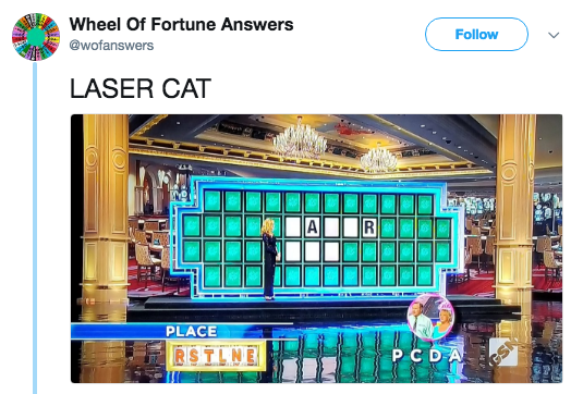 Product - Wheel Of Fortune Answers @wofanswers Follow LASER CAT AI R PLACE RSTLNE P C DA GSN