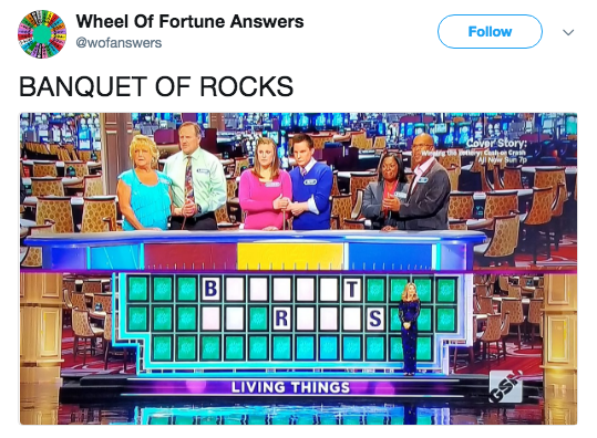 Font - Wheel Of Fortune Answers Follow @wofanswers BANQUET OF ROCKS Cover Story: etey Chon Crein INw Sun 7 wwrg LIVING THINGS S R