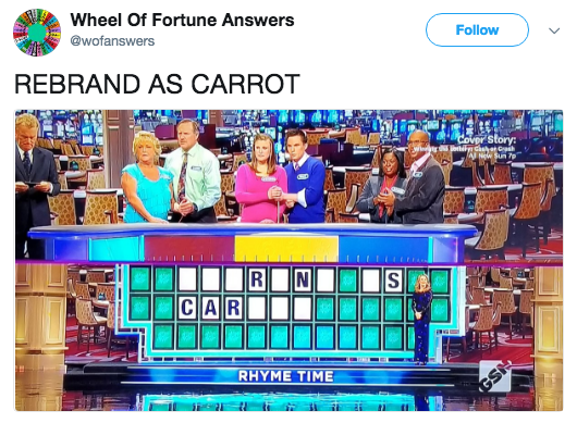 Text - Wheel Of Fortune Answers @wofanswers Follow REBRAND AS CARROT vpr story: AL New Sun p N S CAR RHYME TΙΜE GSN CR