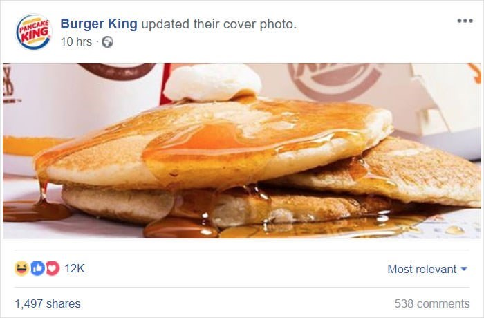 Food - KING Burger King updated their cover photo. 10 hrs DO 12K Most relevant 1,497 shares 538 comments