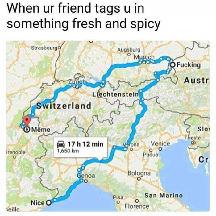 Map of Europe that shows cities Meme and Nice in France