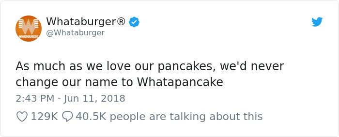 Text - Whataburger® @Whataburger wwD As much as we love our pancakes, we'd never change our name to Whatapancake 2:43 PM Jun 11, 2018 129K 40.5K people are talking about this