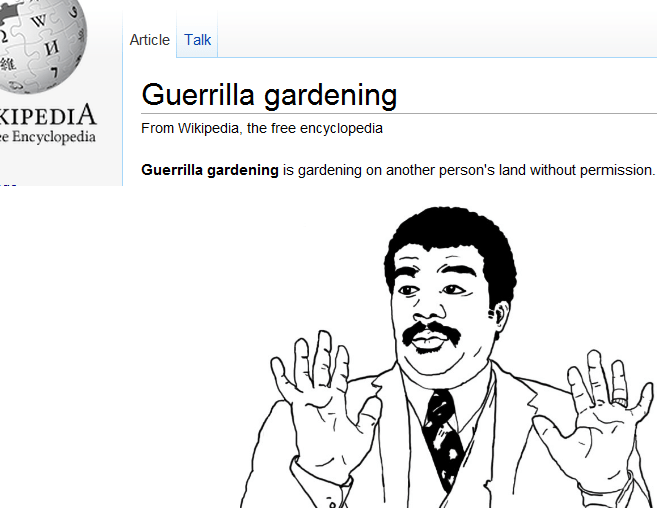 meme - Face - W Article Talk 7 Guerrilla gardening KIPEDIA Encyclopedia From Wikipedia, the free encyclopedia Guerrilla gardening is gardening on another person's land without permission.