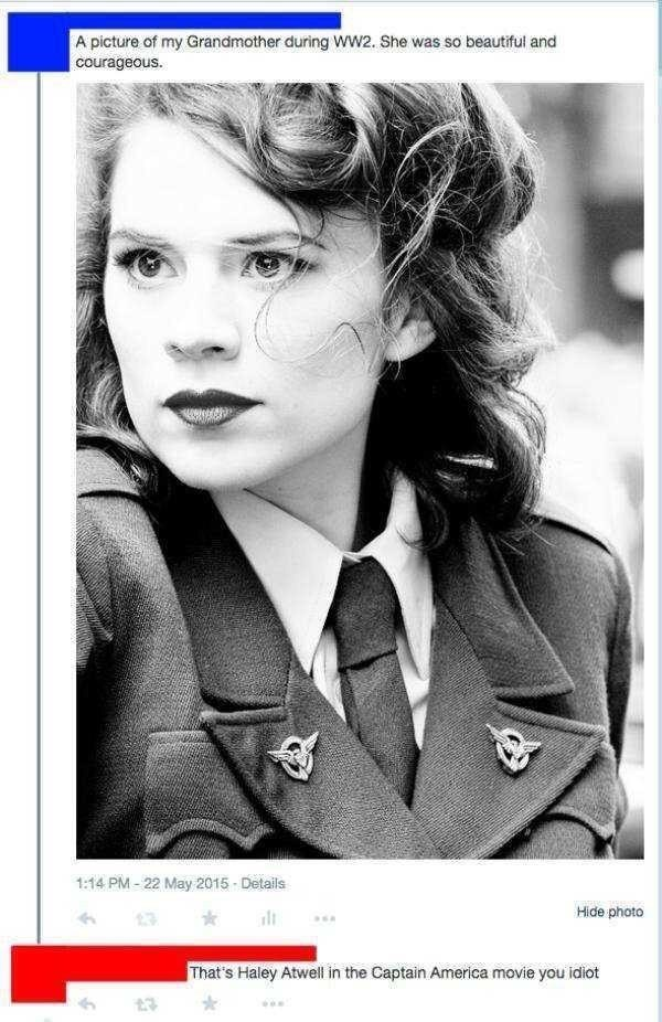 Photograph - A picture of my Grandmother during WW2. She was so beautiful and courageous. 1:14 PM-22 May 2015 Details Hide photo 3 That's Haley Atwell in the Captain America movie you idiot