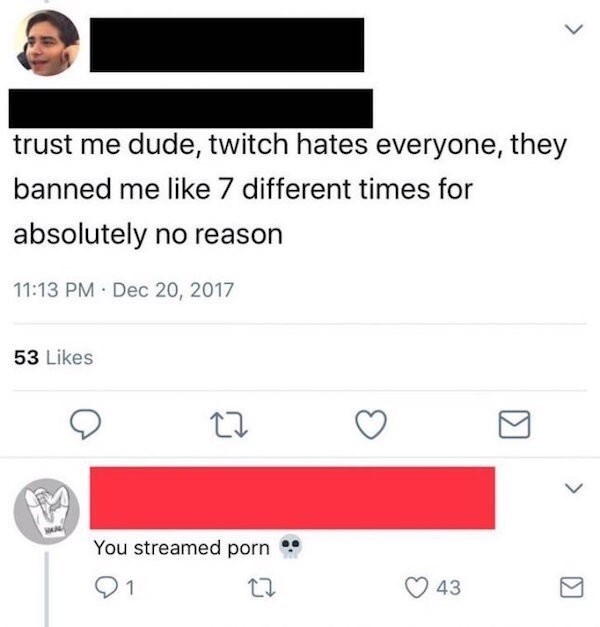 Text - trust me dude, twitch hates everyone, they banned me like 7 different times for absolutely no reason 11:13 PM Dec 20, 2017 53 Likes You streamed porn 1 43