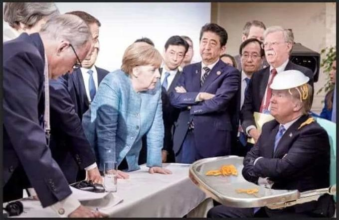 Trump sitting in a high chair with a bowl of pasta on his head