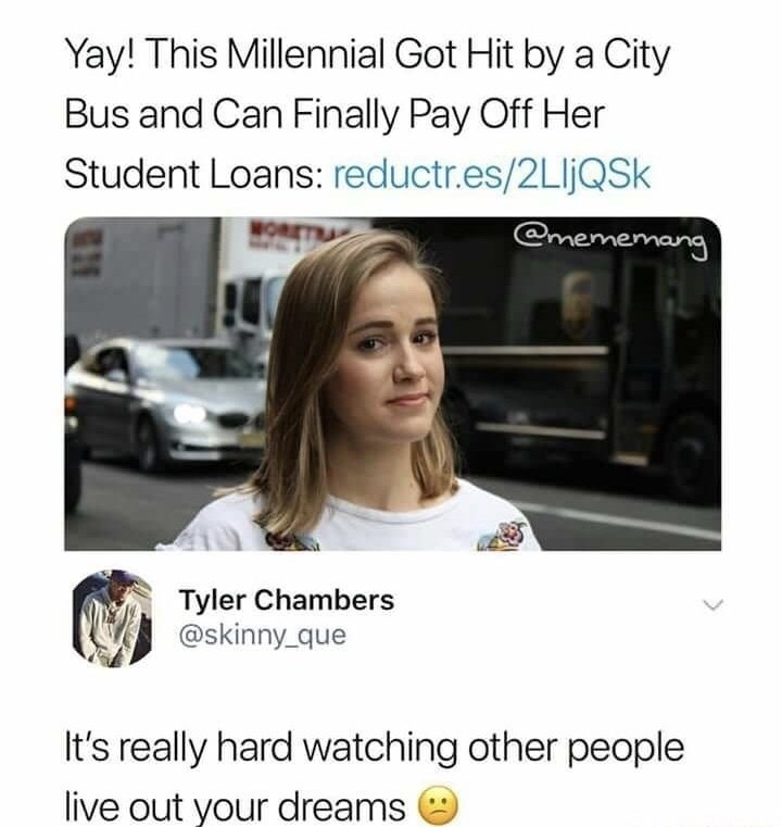 Millennial gets hit by a bus so she doesn't have to pay off her student loans anymore