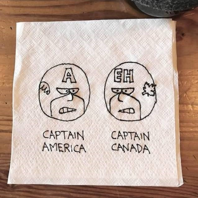 "Drawing of Captain America and Captain Canada with an ""eh"" on his helmet"