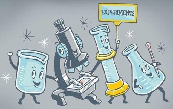 science pun - Cartoon - EXPERIMENTS