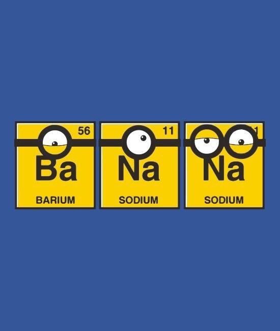 science pun - Yellow - O Na 1 11 Ba Na BARIUM SODIUM SODIUM 56
