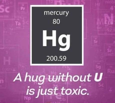 science pun - Text - niob 4 Sc Pr mercury MN 80 Ta 929 Hg Sr Sr 200.59 Н Sg Ru 0079 A hug without U is just toxic. Re Sc Np b