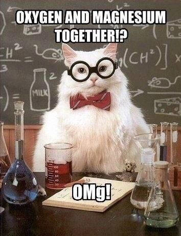 science pun - Cartoon - OXYGEN AND MAGNESIUM TOGETHER? (CH) 2 MILK OMg!