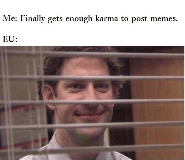 Face - Me: Finally gets enough karma to post memes. EU:
