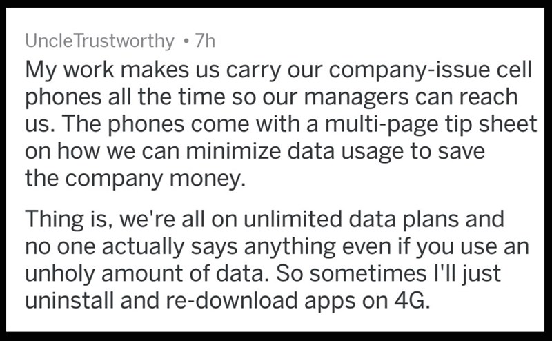 OP carries a company-issued cell phone and uses way more data than the company wants