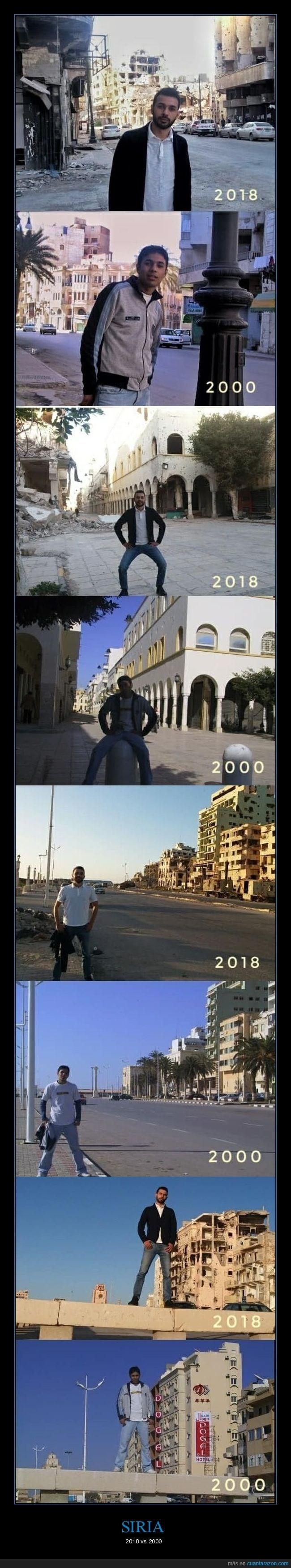 fotos de Benghazi Siria en 2000 y 2018