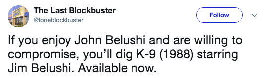 Text - The Last Blockbuster Follow @loneblockbuster If you enjoy John Belushi and are willing to compromise, you'll dig K-9 (1988) starring Jim Belushi. Available now.