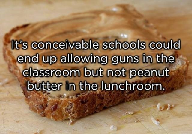 Food - it's conceivable schools could end up allowing guns in the classroom but not peanut butter in the Iunchroom.