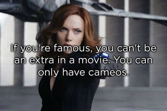 Beauty - if you're famous, you can't be an extra in a movie. You can only have cameos.