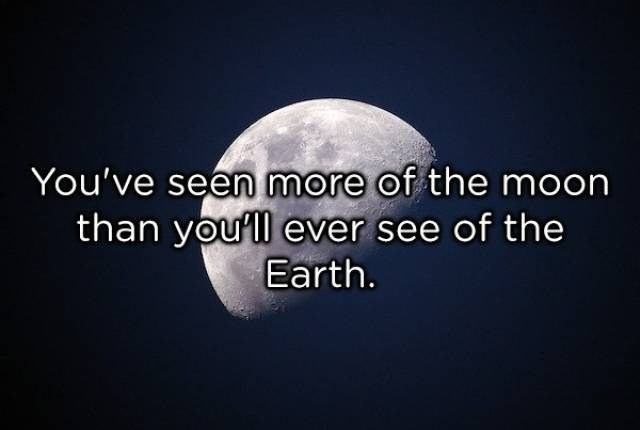 Text - You've seen more of the moon than youll ever see of the Earth.