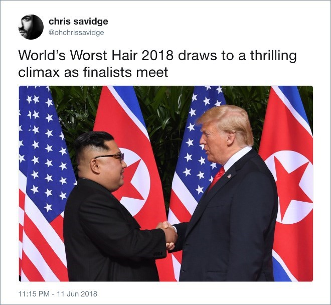 Trump meme about competing with Kim Jong un for worst hair