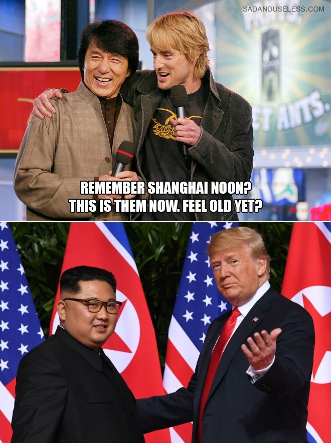 Trump meme about him and Kim Jong un being the old versions of Jackie Chan and Owen Wilson
