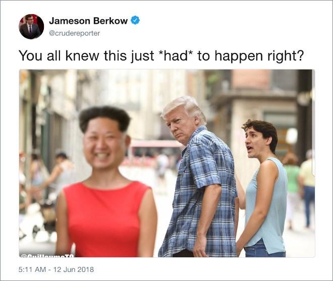 Trump distracted boyfriend meme about preferring Kim Jong un over Trudeau
