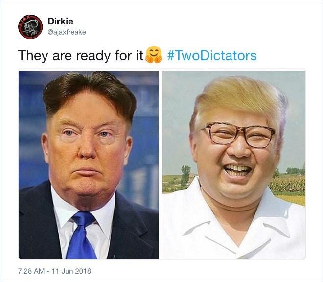 Trump meme faceswapping with Kim Jong un