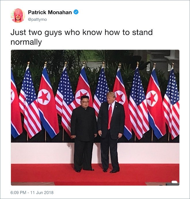 Trump meme about both him and Kim Jong un not knowing how to stand