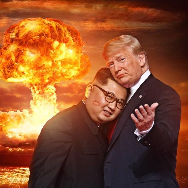 Trump meme about romance with Kim Jong un during a nuclear war