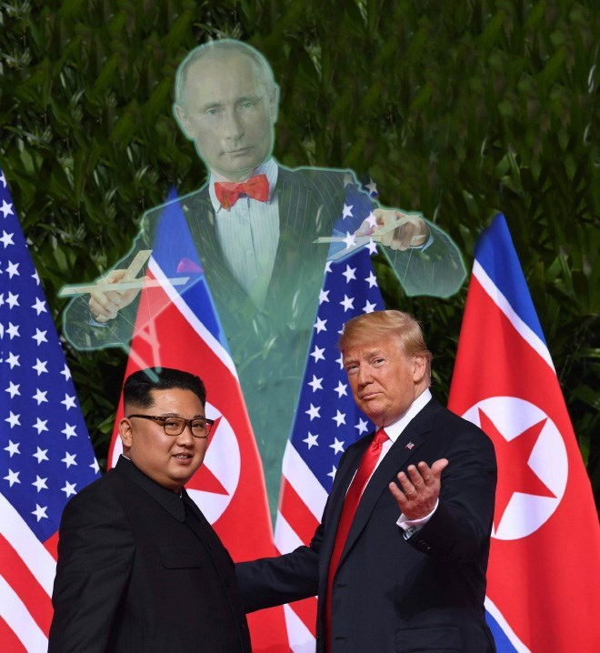 Trump meme about him and Kim Jong un being controlled by Putin