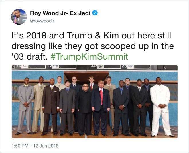 Trump meme about him and Kim Jong un dressing like it's 2003