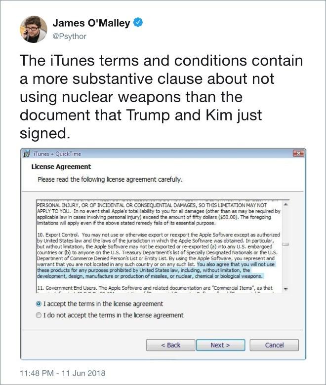 Trump meme with Kim Jong un about nuclear limitations
