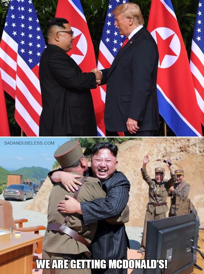 Trump meme about Kim Jong un meeting with Trump to get McDonald's