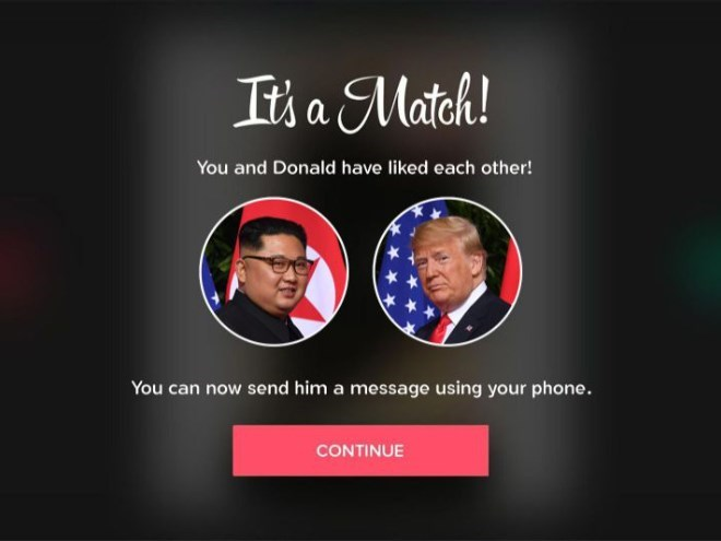 Trump meme about matching with Kim Jong un on Tinder