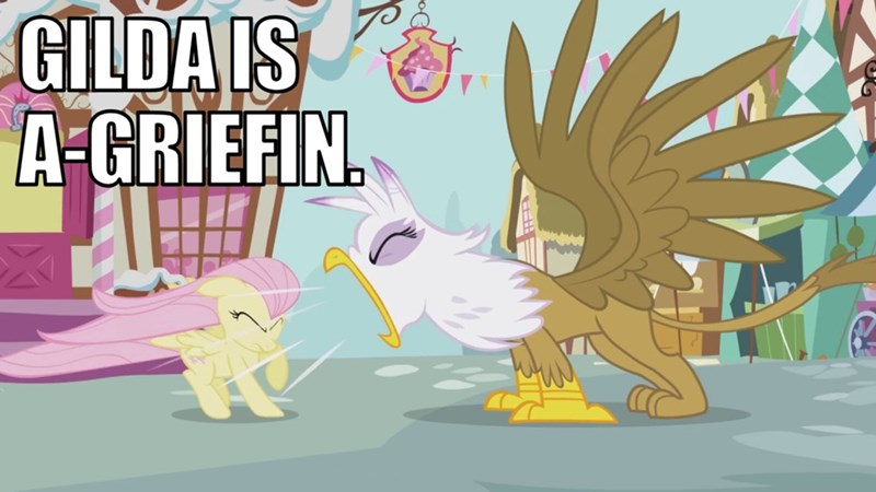 screencap griffon the brush off griffon puns gilda fluttershy - 9177032704