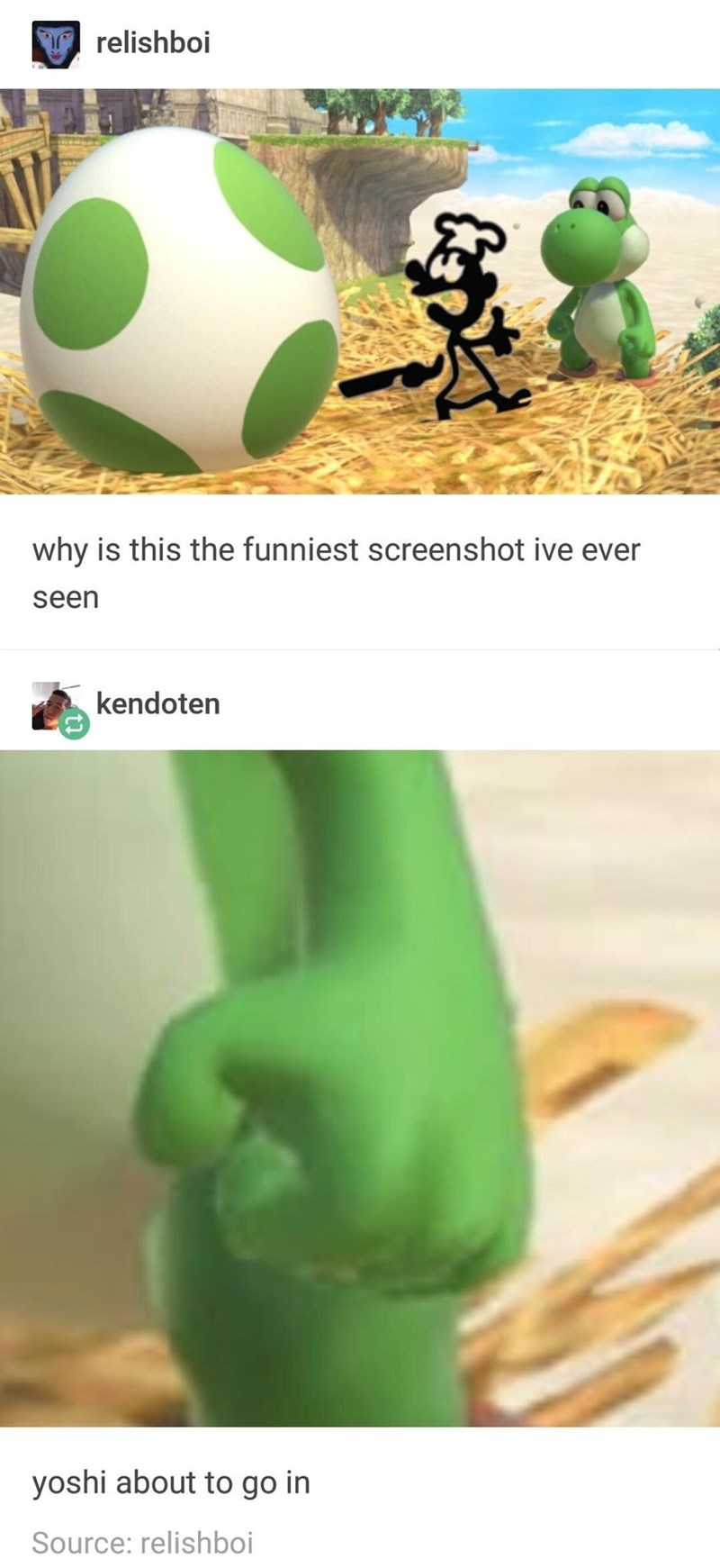 Green - relishboi why is this the funniest screenshot ive ever seen kendoten yoshi about to go in Source: relishboi