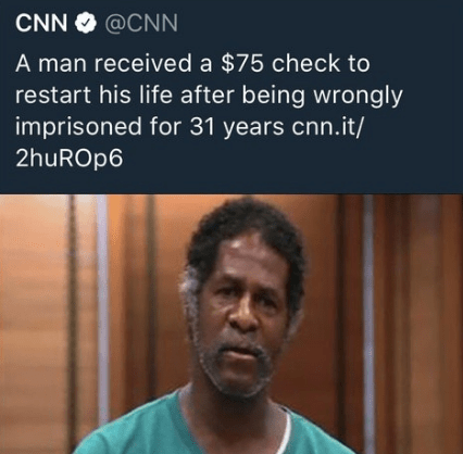 People - CNN @CNN A man received a $75 check to restart his life after being wrongly imprisoned for 31 years cnn.it/ 2huROp6