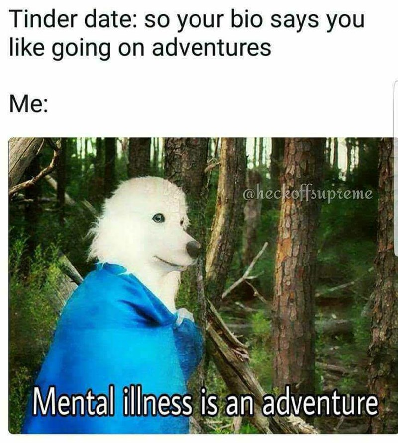 Adaptation - Tinder date: so your bio says you like going on adventures Mе: aheckoffsupteme Mental ilness is an adventure